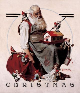 Norman Rockwell - Christmas: Santa with Elves, 1922