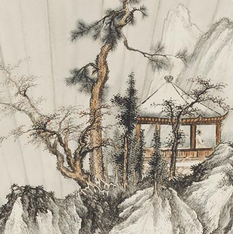 Pavilion in the Winter Mountains - Qi Kun