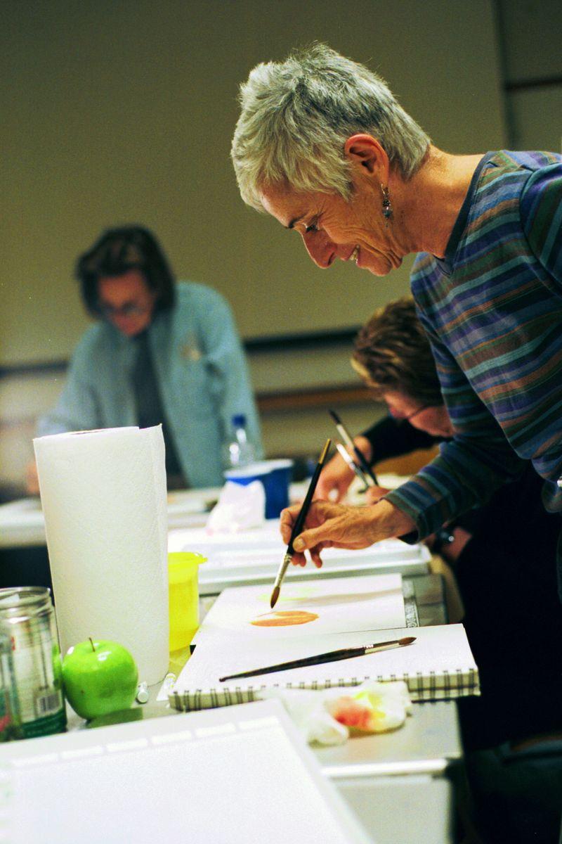Watercolor student at work amanda gogel