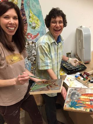 Art students in Encaustic class