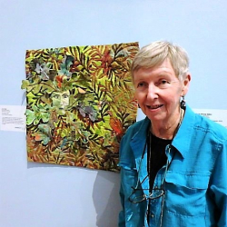 Joan Stogis with Green Man Quilt